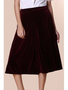 Solid Color High Wasit Wide Leg Velvet Pants - Dark Red L