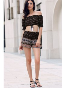 Floral Off Shoulder Crop Top And Shorts - Black