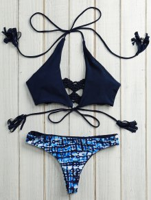 Print Halter Self Tie Bikini Set - Deep Blue