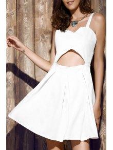 Bare Midriff Strap Dress - White
