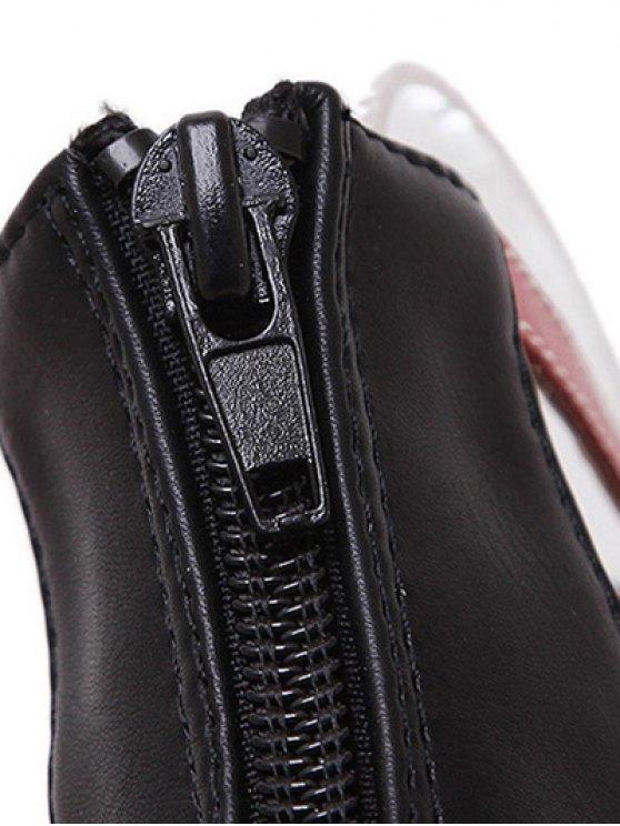 Hollow Out Color Block Lace-Up Sandals - BLACK 38 Mobile