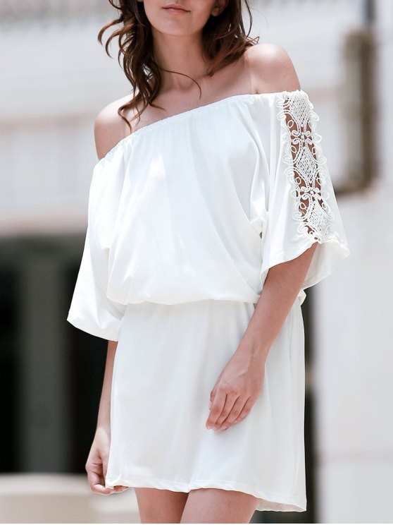 fashion Off The Shoulder Lace Insert A Line Dress - WHITE L