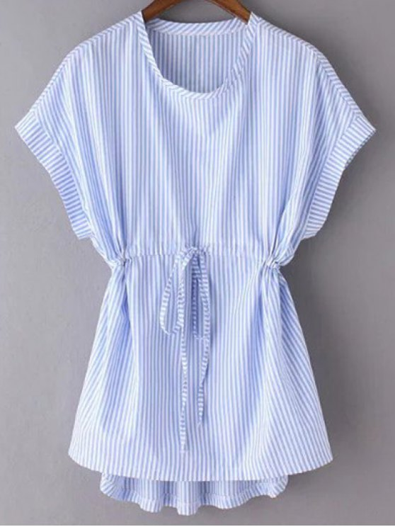 Striped Drawstring avant Haut - Bleu S