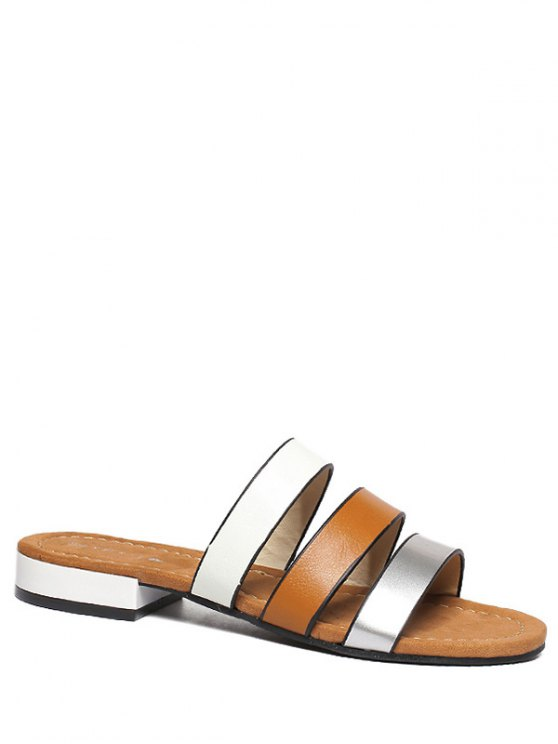 womens PU Leather Color Block Flat Heel Slippers - BROWN 39