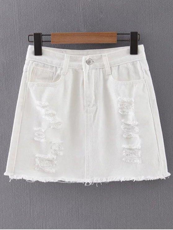 White Ripped Denim Skirt WHITE: Skirts M | ZAFUL
