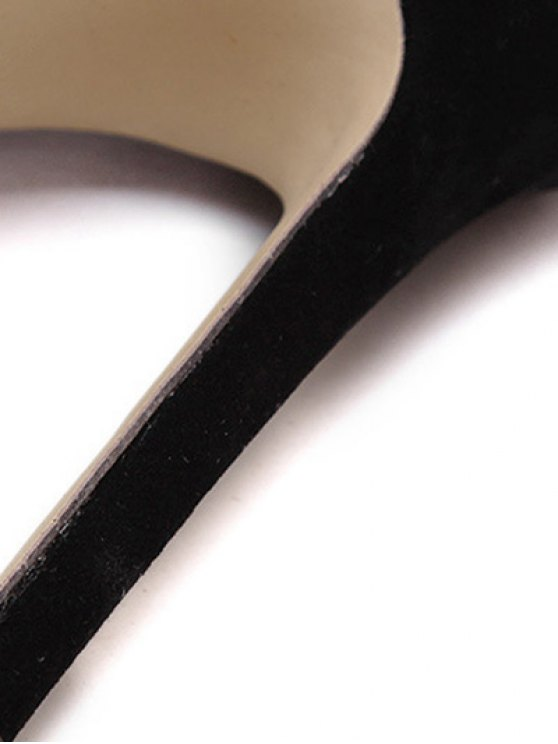 Lace-Up Solid Color Stiletto Heel Sandals - BLACK 38 Mobile