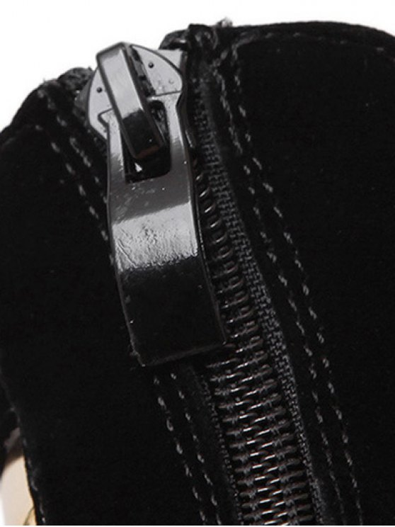 Metallic Platform Stiletto Heel Sandals - BLACK 36 Mobile
