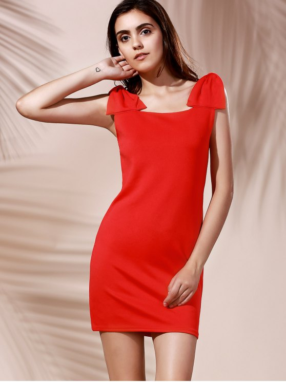 Square Neck Bowknot Mini Cocktail Dress - RED XL Mobile