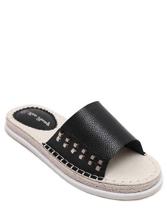 Flat Heel Rivet Weaving Slippers - Noir 39