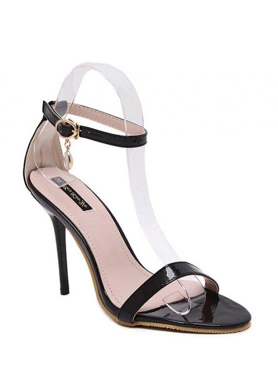 Pendant Ankle Strap Stiletto Heel Sandals - BLACK 38 Mobile