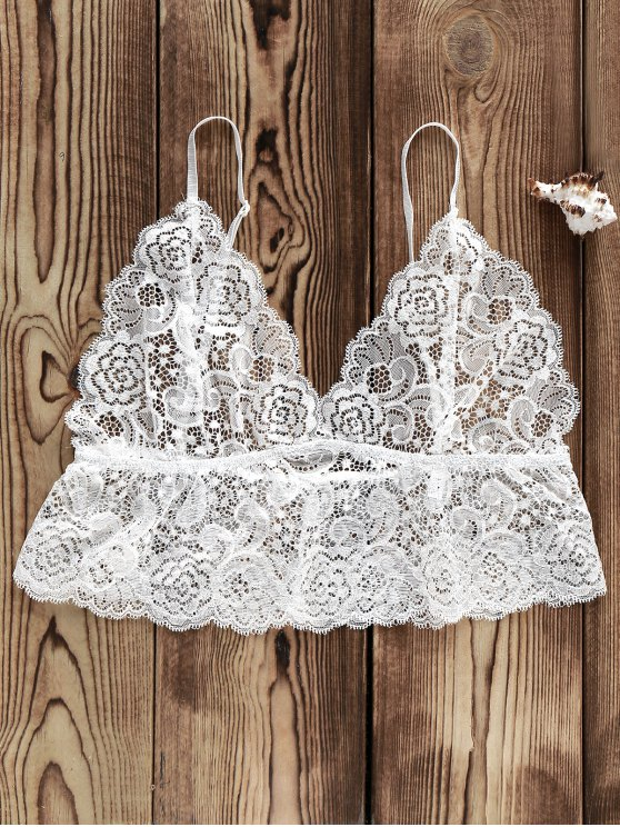 See-Through Lace Crop Top - Blanc XL
