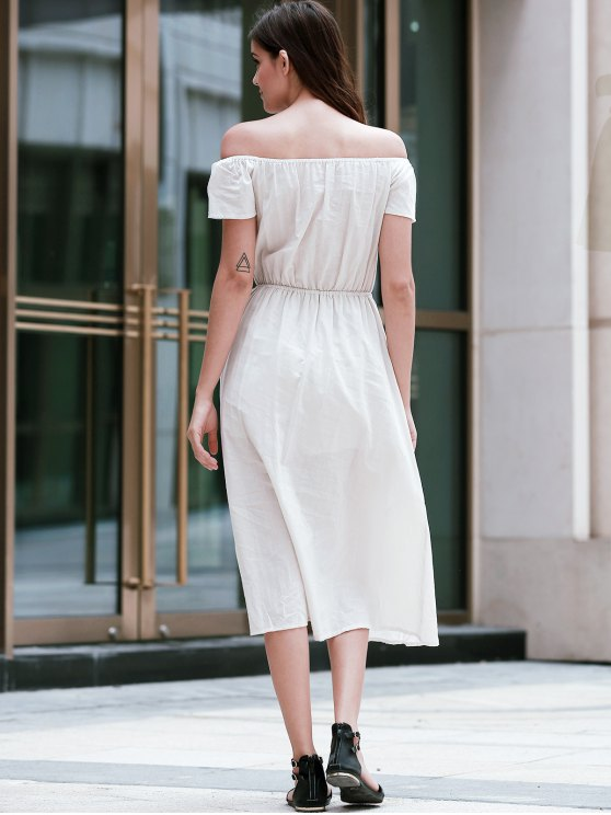 Solid Color Off The Shoulder Short Sleeve Waisted Dress - APRICOT L Mobile