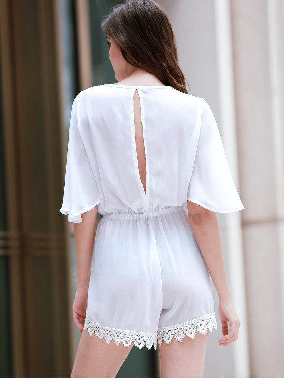 Back Cut Out Plunging Neck 3/4 Sleeve Romper - WHITE XL Mobile