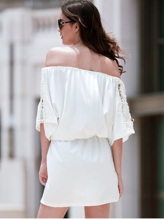 Off The Shoulder Lace Insert A Line Dress - WHITE M Mobile