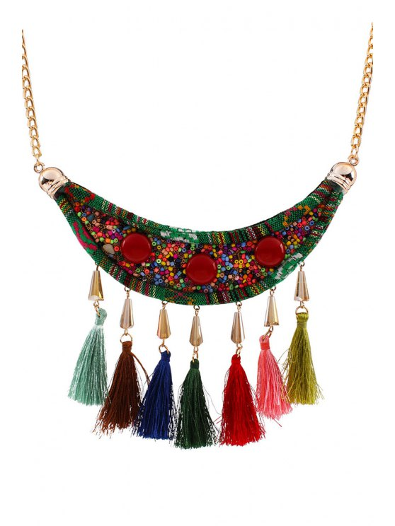 Tassels Beads Ethnic Fake Collar Necklace - GOLDEN  Mobile