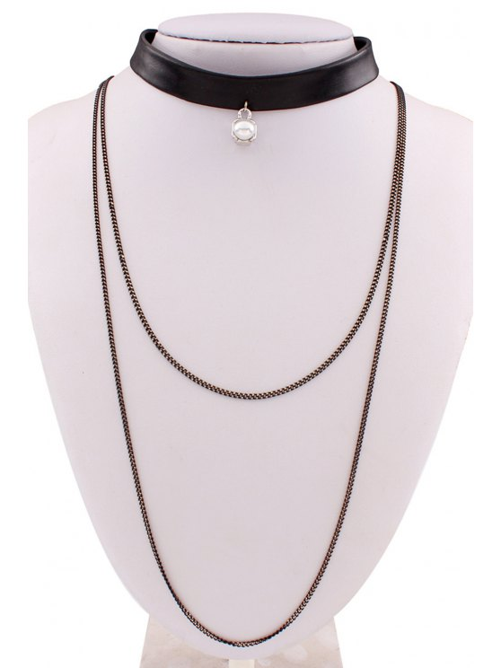 PU Leather Multilayered Chain Necklace - BLACK  Mobile