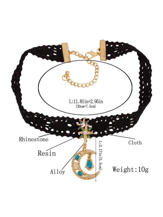 Rhinestone Moon Black Chokers Necklace - BLACK  Mobile
