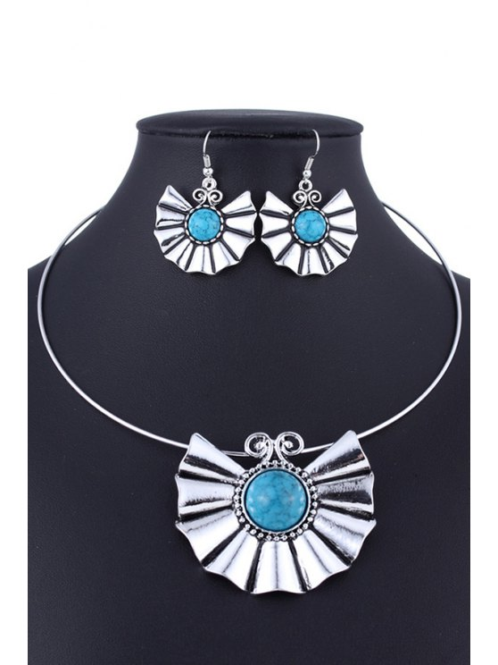 Faux Turquoise Ethnic Style Necklace and Errings - LAKE BLUE  Mobile