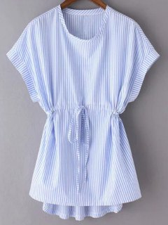 Striped Drawstring Front Top - Blue S