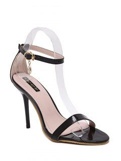 Pendant Ankle Strap Stiletto Heel Sandals - Black 39