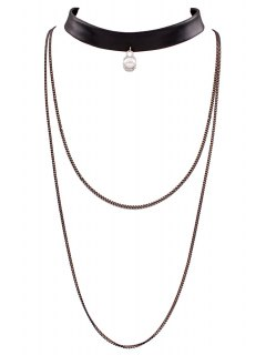 PU Leather Multilayered Chain Necklace - Black