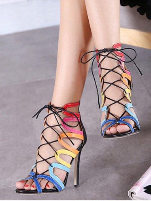 best Hollow Out Color Block Lace-Up Sandals - BLACK 38 Mobile