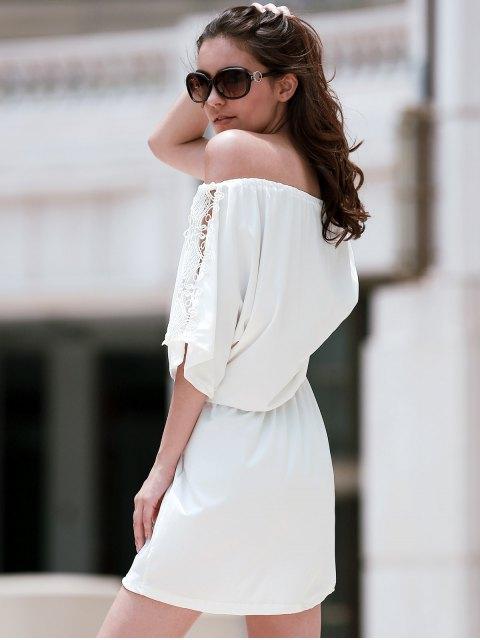 fashion Off The Shoulder Lace Insert A Line Dress - WHITE L Mobile