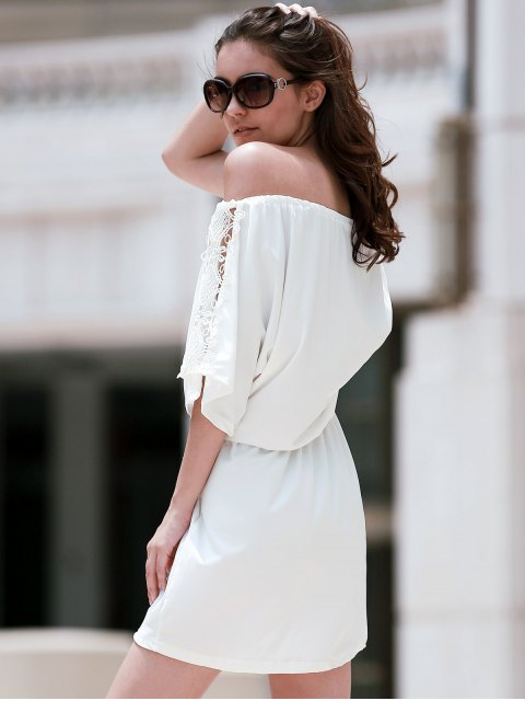trendy Off The Shoulder Lace Insert A Line Dress - WHITE M Mobile