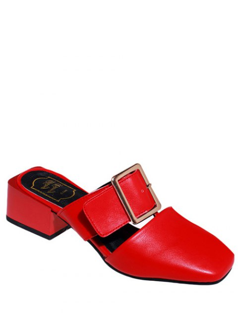 outfit Solid Color Buckle Chunky Heel Slippers - RED 37 Mobile