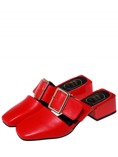 new Solid Color Buckle Chunky Heel Slippers - RED 35 Mobile