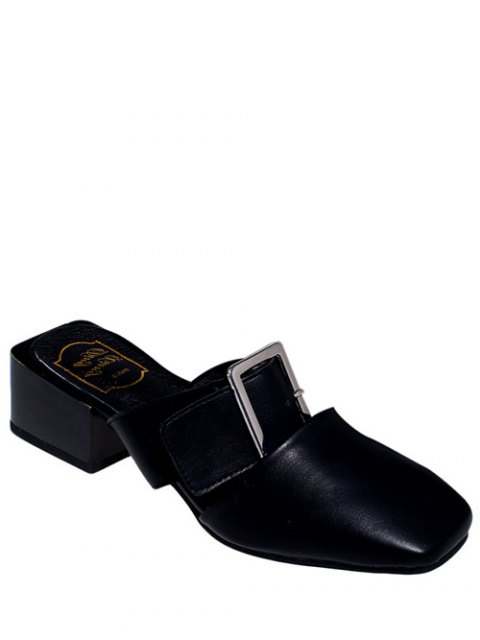 women Solid Color Buckle Chunky Heel Slippers - BLACK 36 Mobile