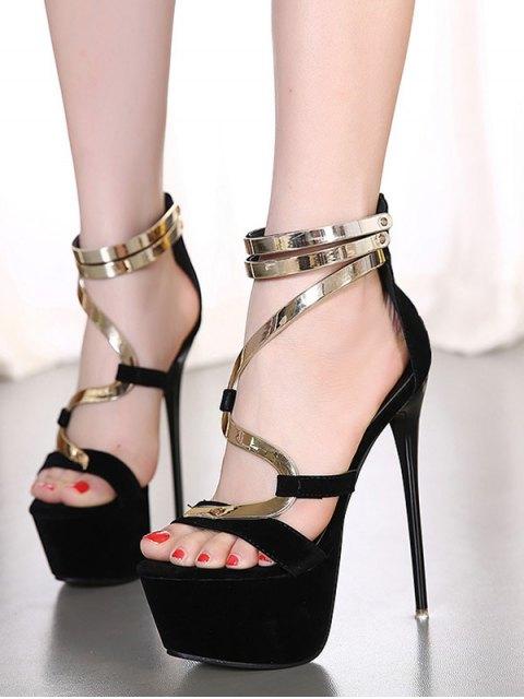 buy Metallic Platform Stiletto Heel Sandals - BLACK 36 Mobile