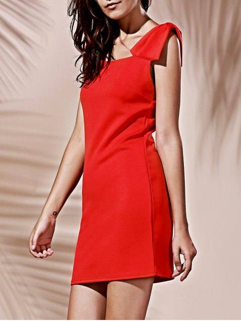 chic Square Neck Bowknot Mini Cocktail Dress - RED M Mobile