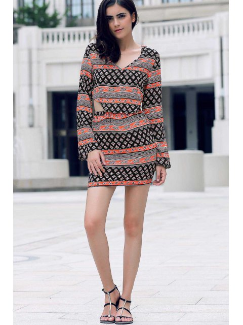 affordable Tribal Print Long Sleeve Crop Top and Mini Skirt - COLORMIX L Mobile