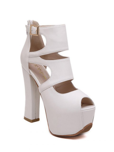 ladies Peep Toe Solid Color Chunky Heel Sandals - WHITE 39 Mobile