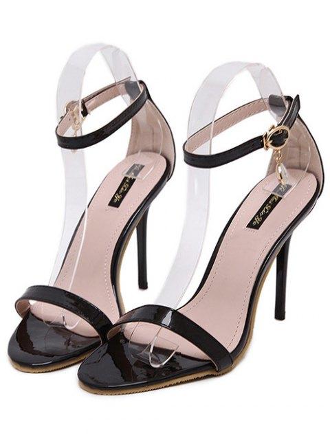women's Pendant Ankle Strap Stiletto Heel Sandals - BLACK 38 Mobile