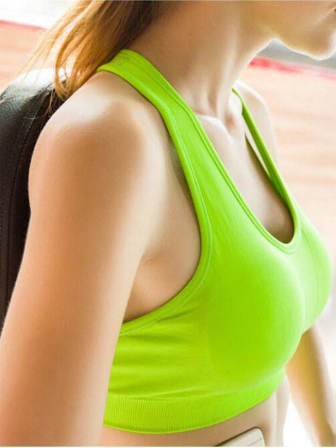best Sporty Solid Color U-Neck Cropped Tank Top - NEON GREEN L Mobile