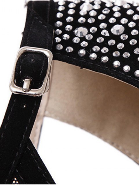 hot Cut Out Gauze Rhinestone Sandals - BLACK 36 Mobile