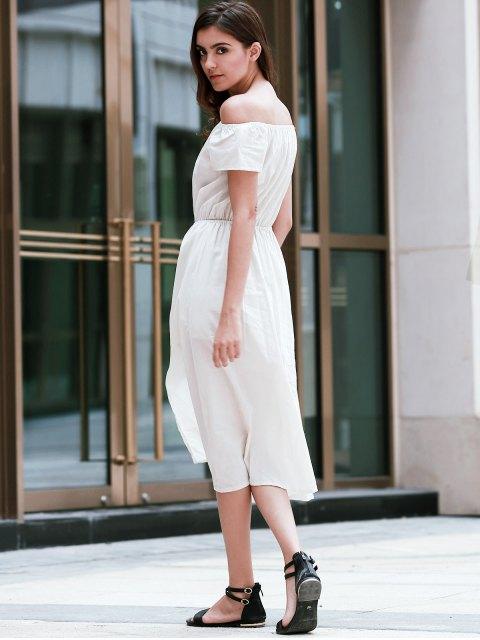sale Solid Color Off The Shoulder Short Sleeve Waisted Dress - APRICOT L Mobile