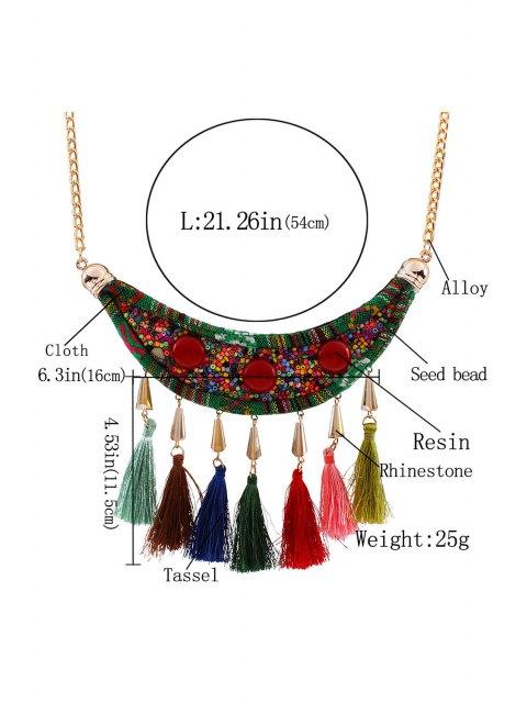 best Tassels Beads Ethnic Fake Collar Necklace - GOLDEN  Mobile