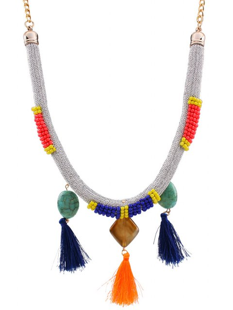 lady Tassels Beads Bohemian Style Necklace - SILVER  Mobile