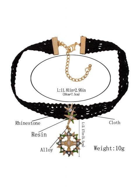fancy Rhinestone Sun Black Chokers Necklace - BLACK  Mobile