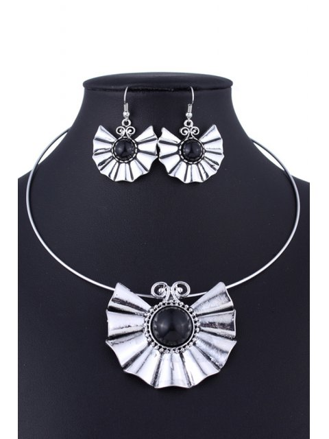 hot Faux Turquoise Ethnic Style Necklace and Errings - BLACK  Mobile