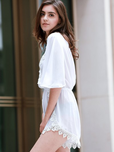 Back Cut Out Plunging Neck 3/4 Sleeve Romper - WHITE L Mobile