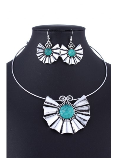 Faux Turquoise Ethnic Style Necklace and Errings - GREEN  Mobile