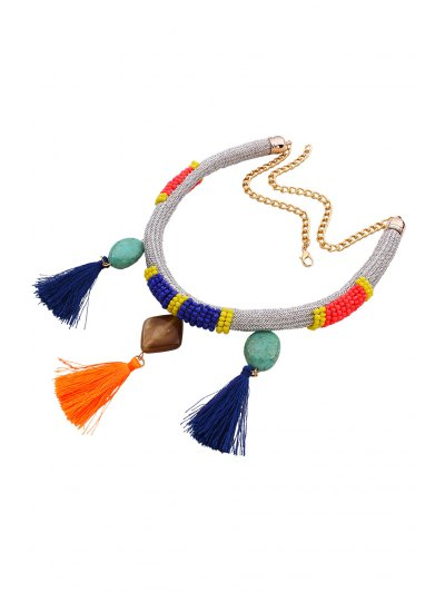 Tassels Beads Bohemian Style Necklace - SILVER  Mobile