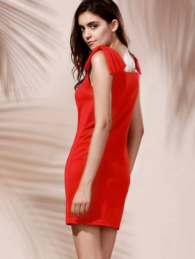 Chic Women's Square Neck Red Sleeveless Dress - RED M Mobile