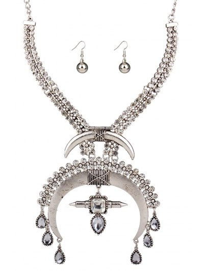 Moon Ethnic Fake Collar Necklace and Errings - SILVER  Mobile