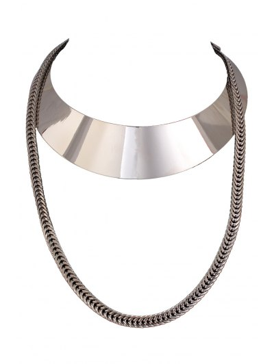 Chain Alloy Chokers Necklace - Silver