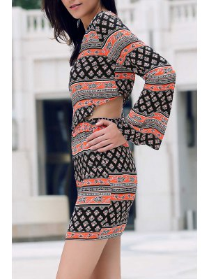 Tribal Print Long Sleeve Crop Top And Mini Skirt